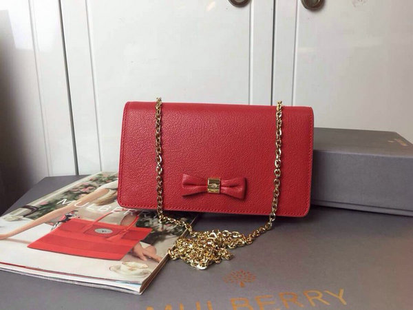 2015 Cheap Mulberry Goat Leather Bow Clutch Wallet in Red