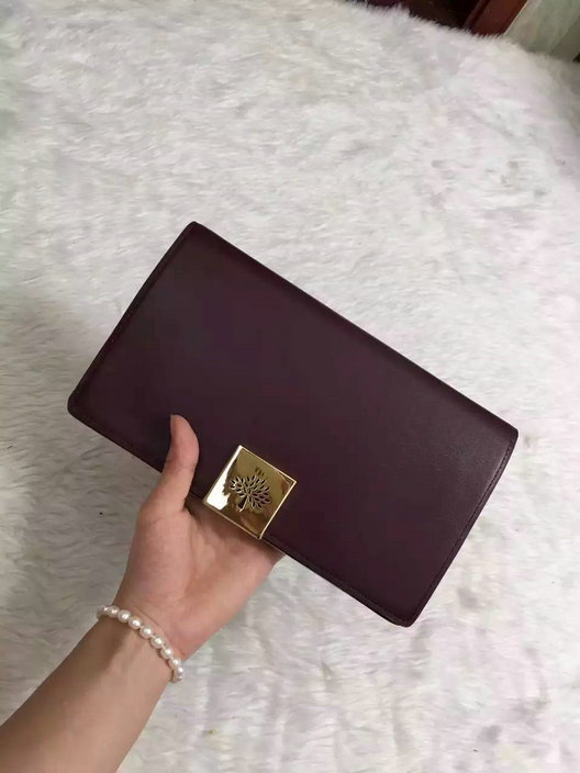 2015 Hottest Mulberry Campden Clutch Bag in Oxblood Leather