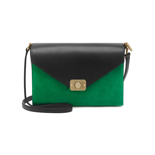 2015 Cheap Mulberry Delphie Shoulder Bag Jungle Green & Midnight Blue Heavy Suede With Black Flat Calf Leather