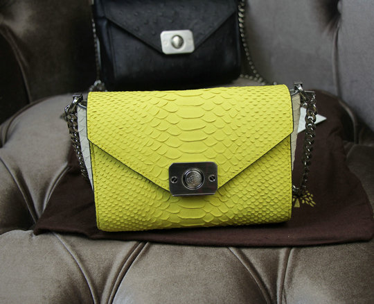 2015 Cheap Mulberry Delphie Bag Camomile & Cream Silky Snake Leather