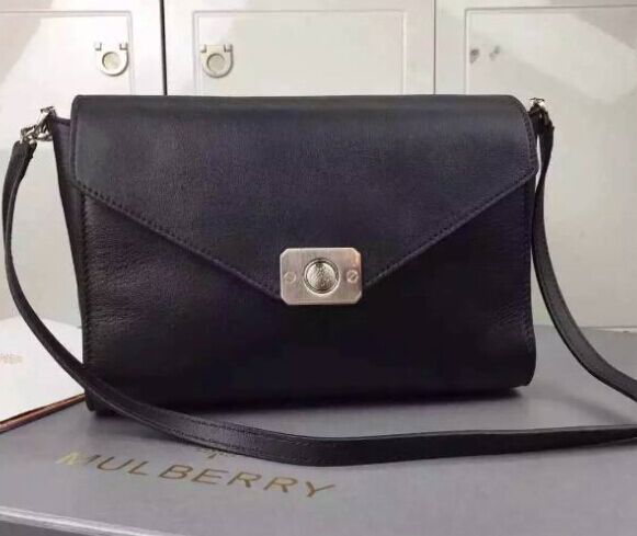2015 Cheap Mulberry Delphie Shoulder Bag Black Calf Leather