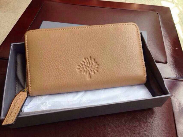 2015 Mulberry Effie Zip Around Purse in Deer Brown Spongy Pebbled Leather
