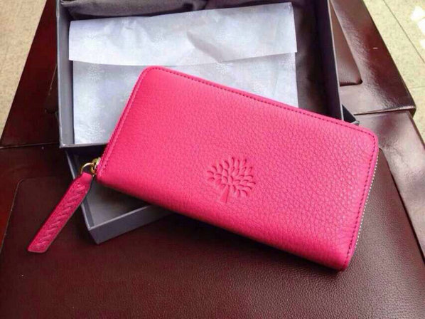2015 Mulberry Effie Zip Around Purse in Fuchsia Spongy Pebbled Leather