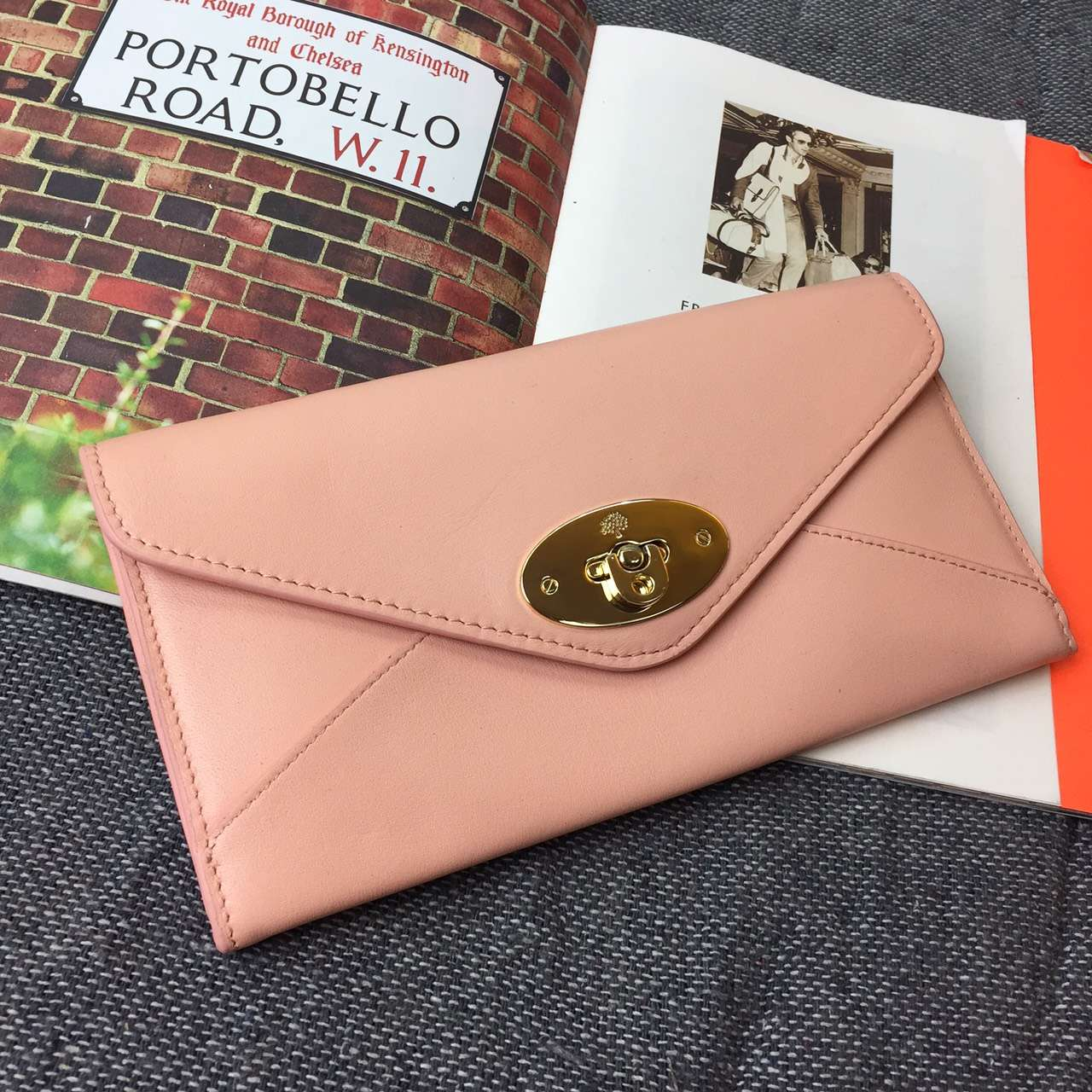 2015 Hottest Mulberry Envelope Wallet in Pink Leather