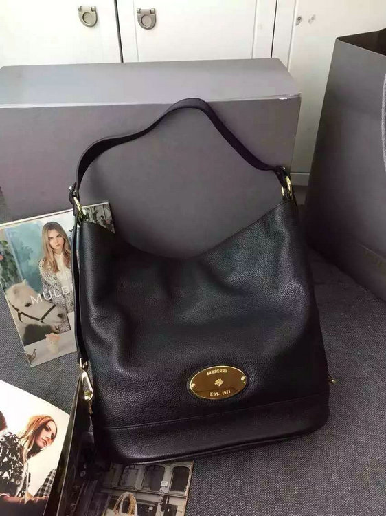 2015 Fall/Winter Mulberry Jamie Bucket Bag Black Leather