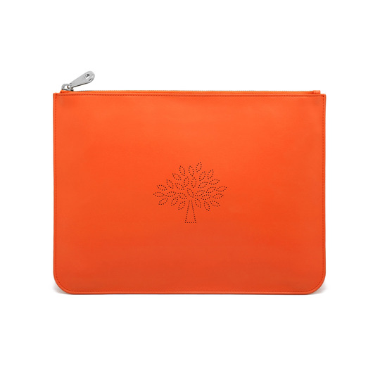 2015 Spring/Summer Mulberry Large Blossom Zip Pouch in Mandarin Calf Nappa Leather