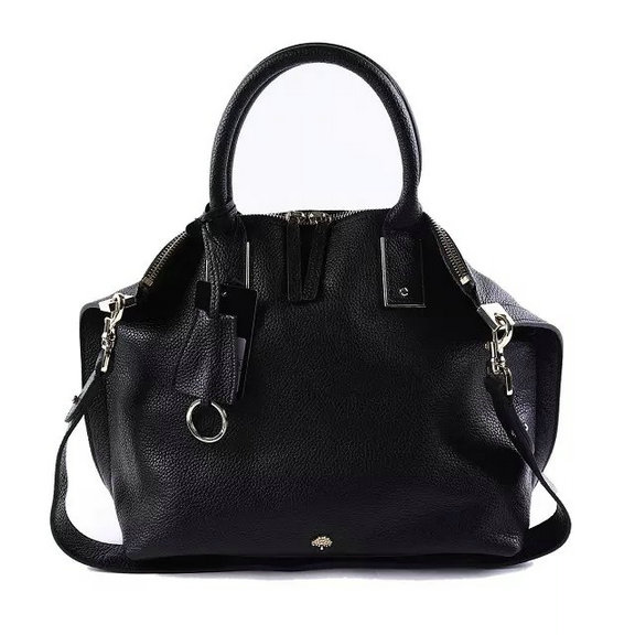 2015 Mulberry Alice Zipped Tote Black Small Grain Leather