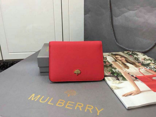 2015 Cheap Mulberry Tree Slim Short Wallet in Hibiscus & Mandarin Lamb Nappa