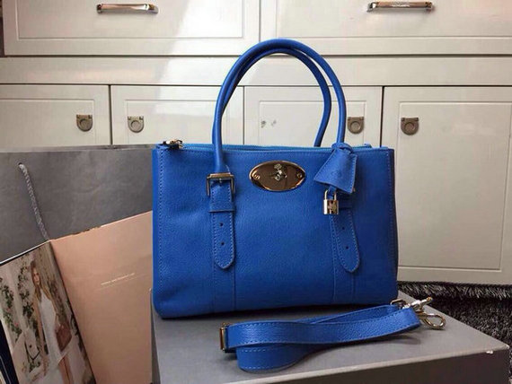 2015 Latest Mulberry Small Bayswater Double Zip Tote in Sea Blue