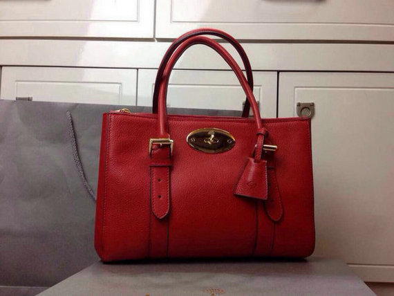 2015 Latest Mulberry Small Bayswater Double Zip Tote in Red