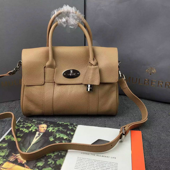 2015 A/W Mulberry Small Bayswater Satchel in Apricot Grainy Leather