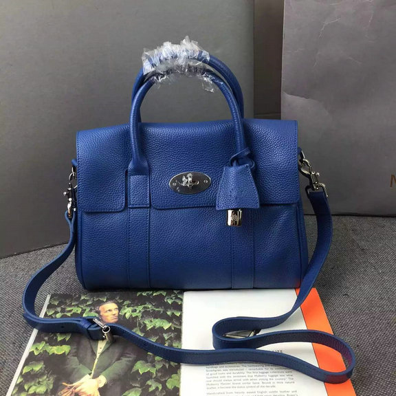 2015 A/W Mulberry Small Bayswater Satchel in Blue Grainy Leather