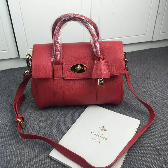 2015 A/W Mulberry Small Bayswater Satchel in Red Grainy Leather
