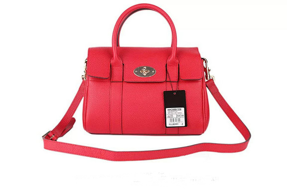 2015 New Mulberry Small Bayswater Satchel in Hibiscus Small Classic Grain Leather