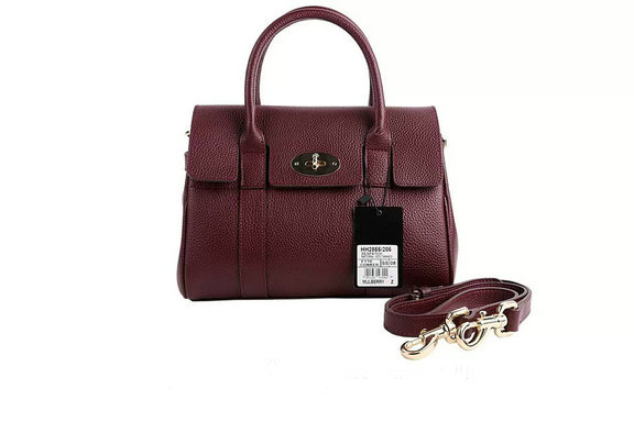 2015 New Mulberry Small Bayswater Satchel in Oxblood Small Classic Grain Leather