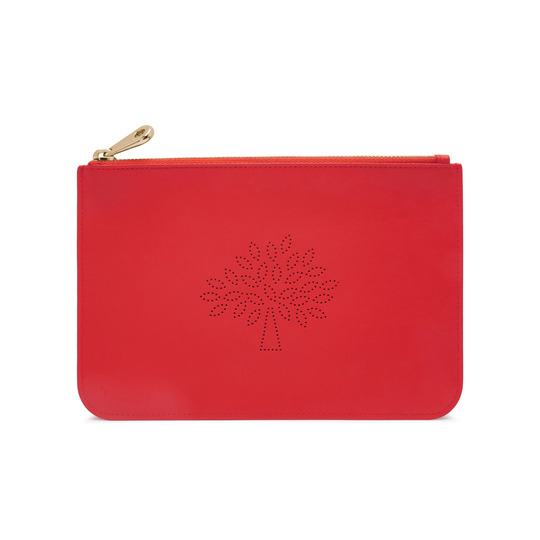 2015 Spring/Summer Mulberry Small Blossom Zip Pouch in Hibiscus Calf Nappa Leather