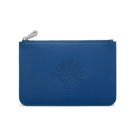 2015 Spring/Summer Mulberry Small Blossom Zip Pouch in Sea Blue Calf Nappa Leather