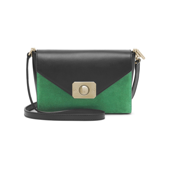 2015 Cheap Mulberry Small Delphie Shoulder Bag Jungle Green & Midnight Blue Heavy Suede With Black Flat Calf Leather