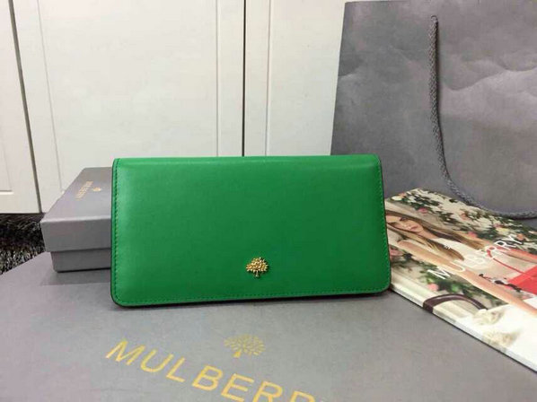 2015 Cheap Mulberry Tree Slim Long Wallet in Jungle Green & Sea Blue Lamb Nappa