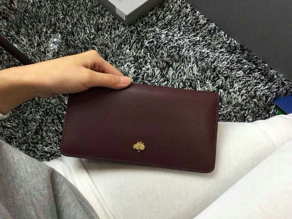 2015 Cheap Mulberry Tree Slim Long Wallet in Oxblood & Black Lamb Nappa