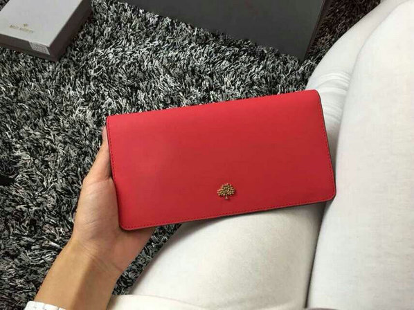 2015 Cheap Mulberry Tree Slim Long Wallet in Hibiscus & Mandarin Lamb Nappa