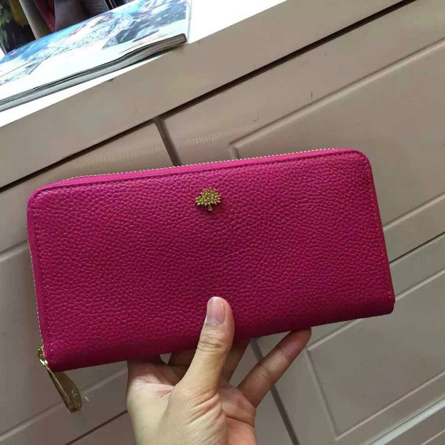 Mulberry Tree Zip Around Wallet Fuchsia Grained Leather