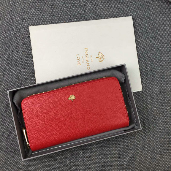 Mulberry Tree Zip Around Wallet Red Grained Leather