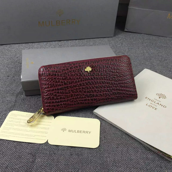 2015 A/W Mulberry Tree Zip Around Wallet in Oxblood Shrunken Calf Leather