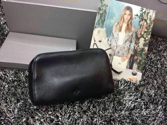 2015 Latest Mulberry Make Up Case 8437 in Black Leather