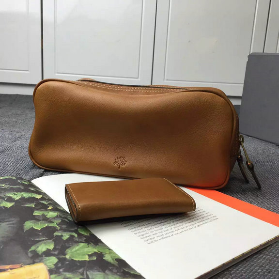 2015 Unisex Mulberry Double Zip Leather Wash Bag in Oak