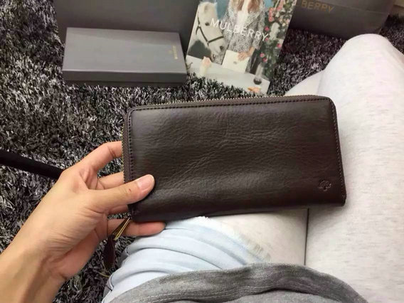 2015 New Mulberry Zip Around Wallet in Chocolate Natural Leather