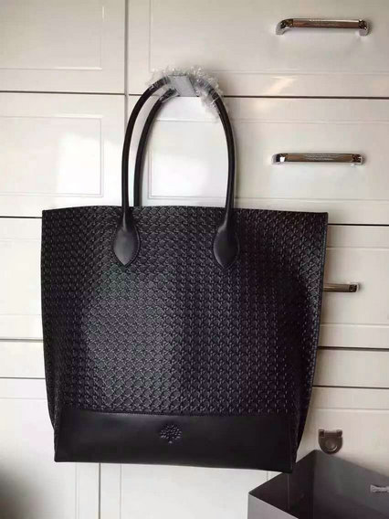 2015 Latest Mulberry Blossom Tote Black Calf Basket Weave Embossed Nappa