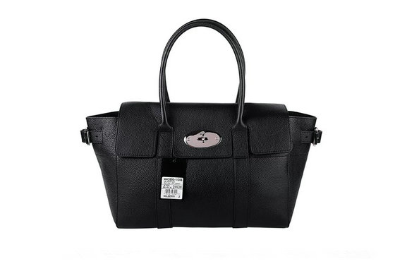 2015 Latest Mulberry Bayswater Buckle Bag in Black Small Grain Leather