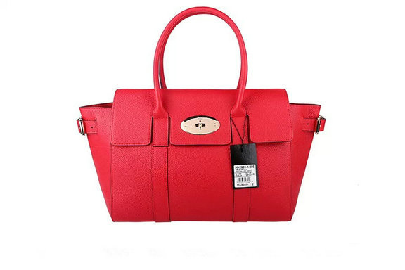 2015 Latest Mulberry Bayswater Buckle Bag in Red Small Grain Leather