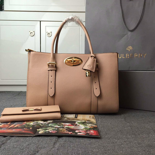 2015 Latest Mulberry Bayswater Double Zip Tote Bag in Ballet Pink
