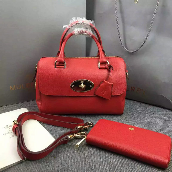 2015 Mulberry Small Del Rey Bag in Red Goat Leather