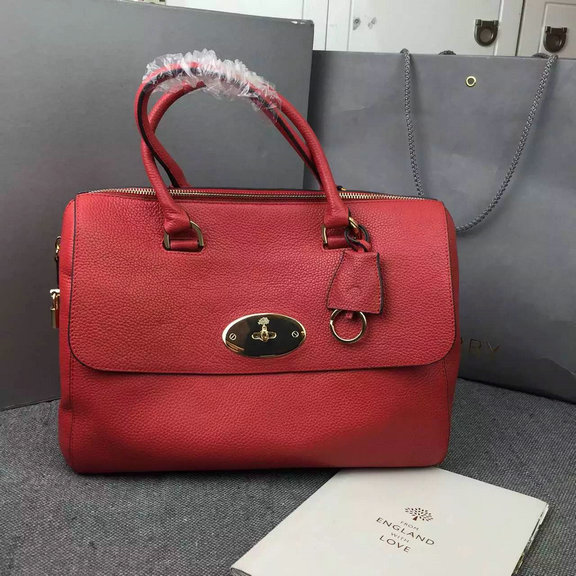 2015 Mulberry Del Rey Bag in Red Small Grain Leather