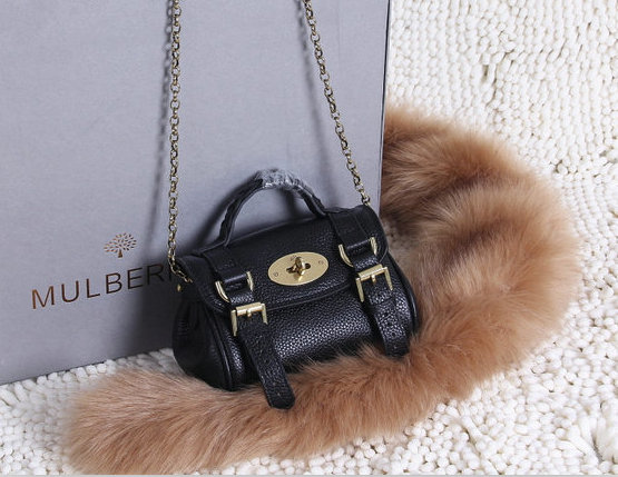2015 New Mulberry Mini Alexa Bag in Black Grain Leather