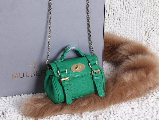 2015 New Mulberry Mini Alexa Bag in Green Grain Leather