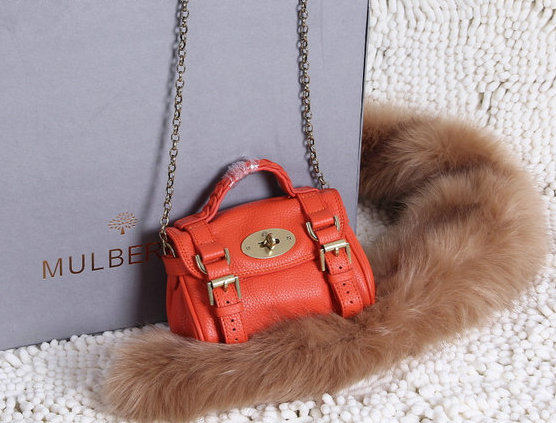 2015 New Mulberry Mini Alexa Bag in Mandarin Grain Leather