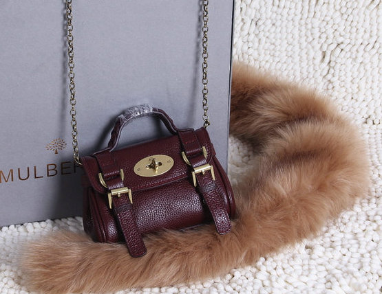 2015 New Mulberry Mini Alexa Bag in Oxblood Grain Leather