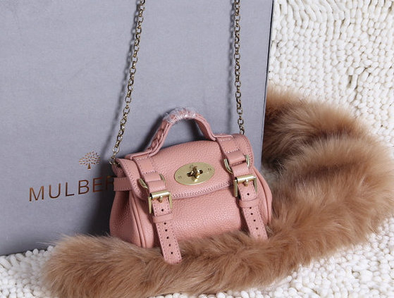 2015 New Mulberry Mini Alexa Bag in Pink Grain Leather