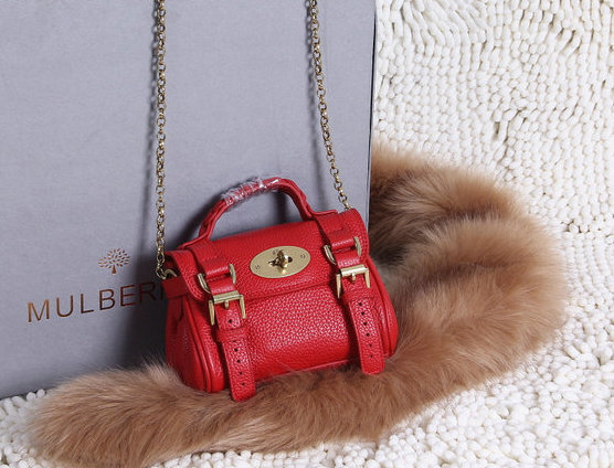 2015 New Mulberry Mini Alexa Bag in Red Grain Leather