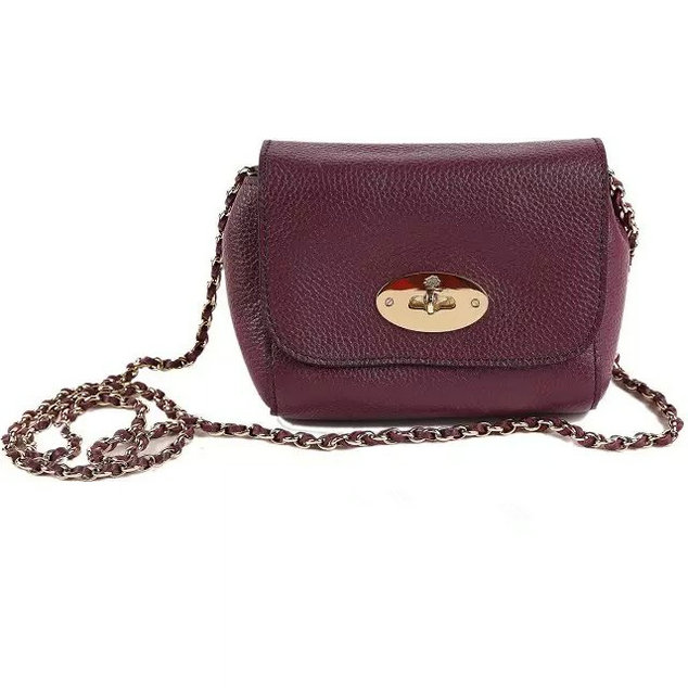 2015 Cheap Mulberry Mini Lily Bag Purple Grained Leather