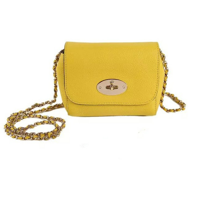 2015 Cheap Mulberry Mini Lily Bag Yellow Grained Leather