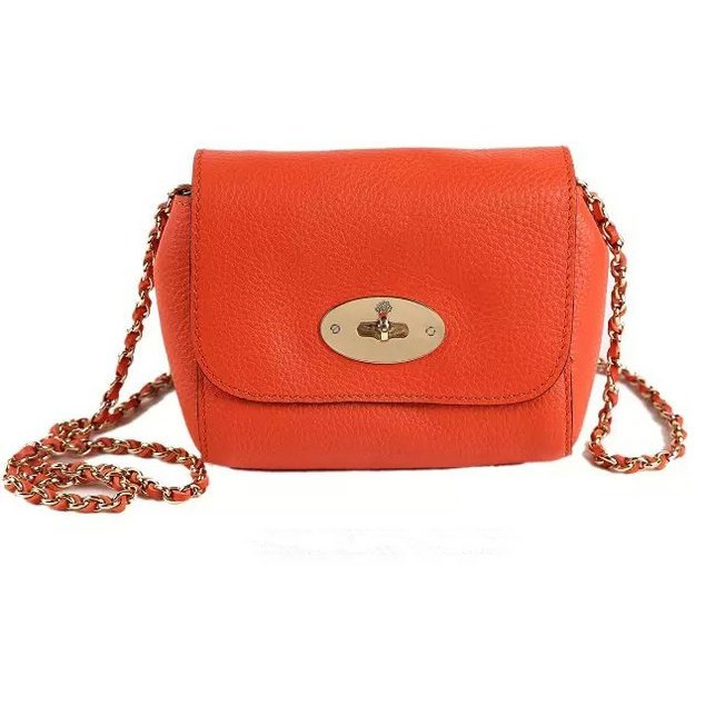 2015 Cheap Mulberry Mini Lily Bag Orange Grained Leather