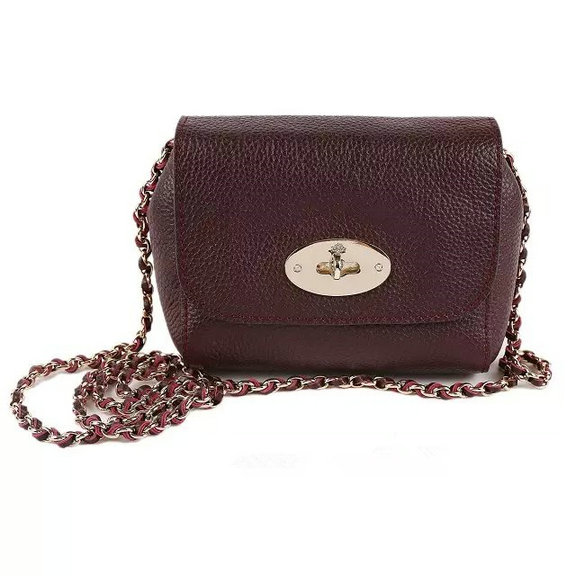 2015 Cheap Mulberry Mini Lily Bag Oxblood Grained Leather