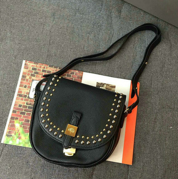 2015 Autumn/Winter Mulberry Small Tessie Satchel Black with rivets detailing