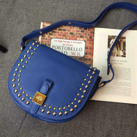 2015 Autumn/Winter Mulberry Small Tessie Satchel Blue with rivets detailing