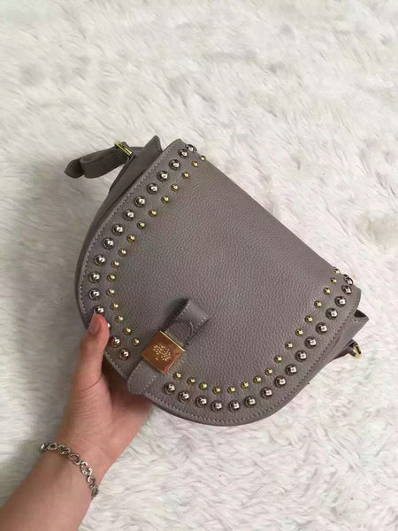 2015 Autumn/Winter Mulberry Small Tessie Satchel Grey with rivets detailing